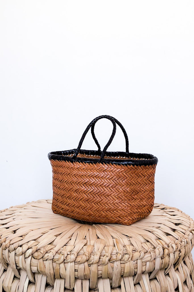 Bamboo Triple Jump Small Tote, Tan + Black