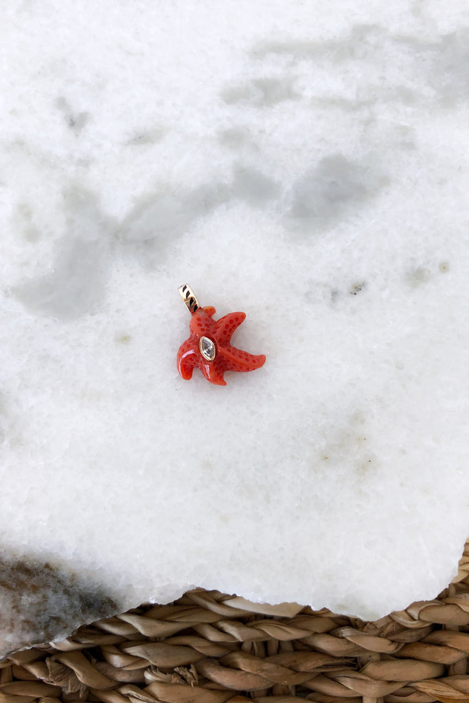 Petite Coral Starfish with Marquise Diamond Charm