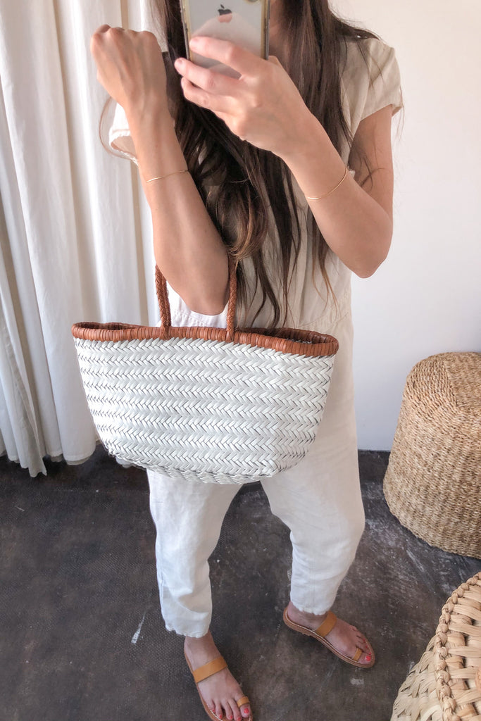 Bamboo Triple Jump Small Tote, White + Tan