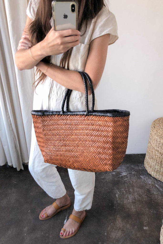 Bamboo Triple Jump Big Tote, Tan + Black