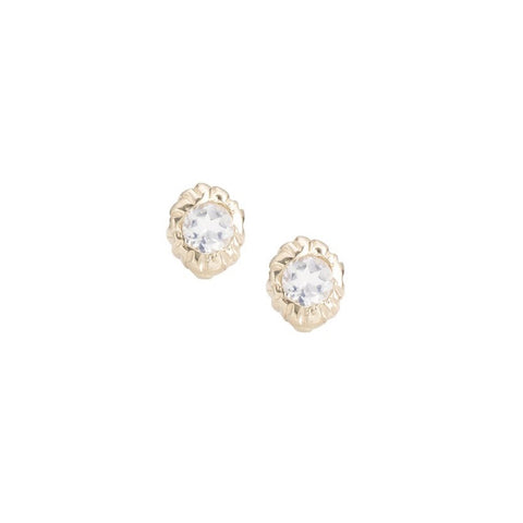 Inner Light Studs, YG, Moonstone, PAIR