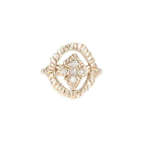 Radiance Shield Ring, YG, Rose Cut Champage + White Diamonds, Sz 7