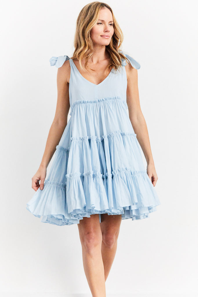 Che Pas Ramie Big Frill Dress, Dusk, O/S