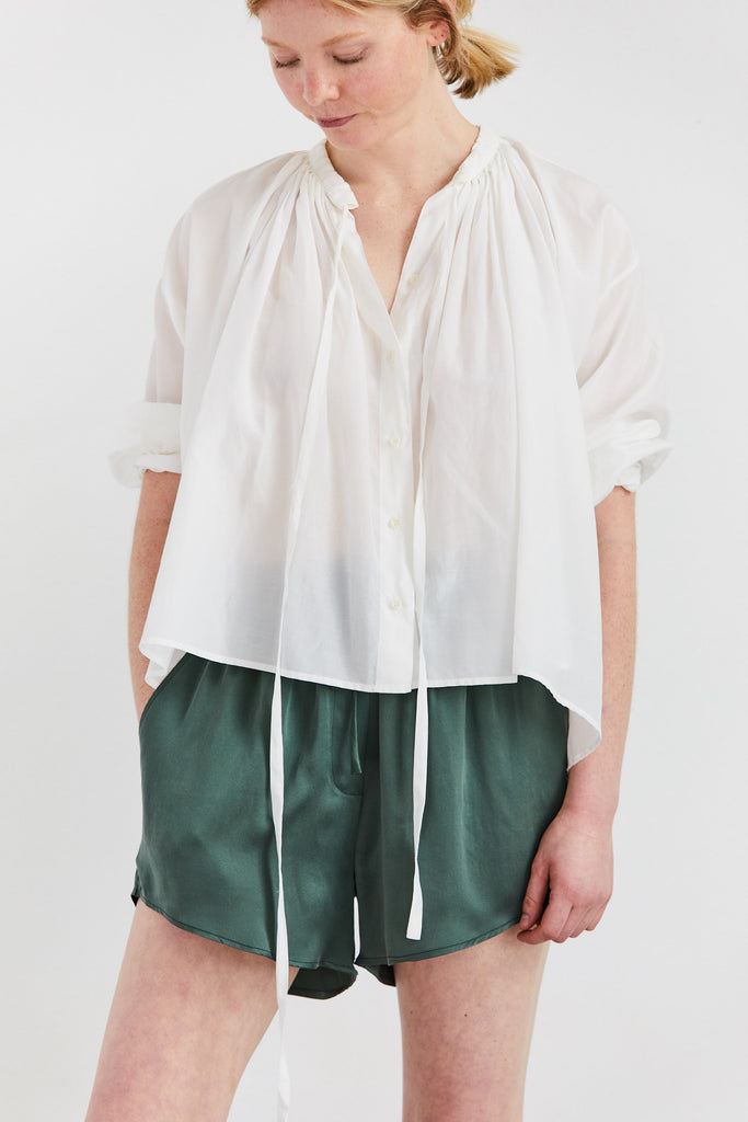 Cuffed Monk Blouse in Silk Cotton