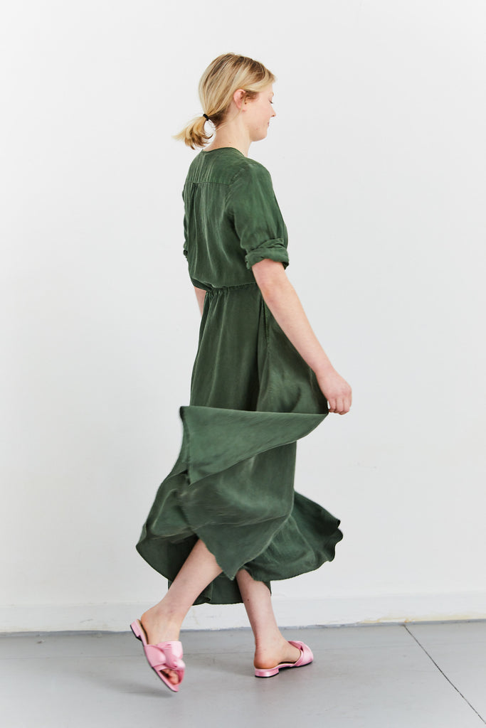 Cuffed Shirt Dress in Washed Habotai