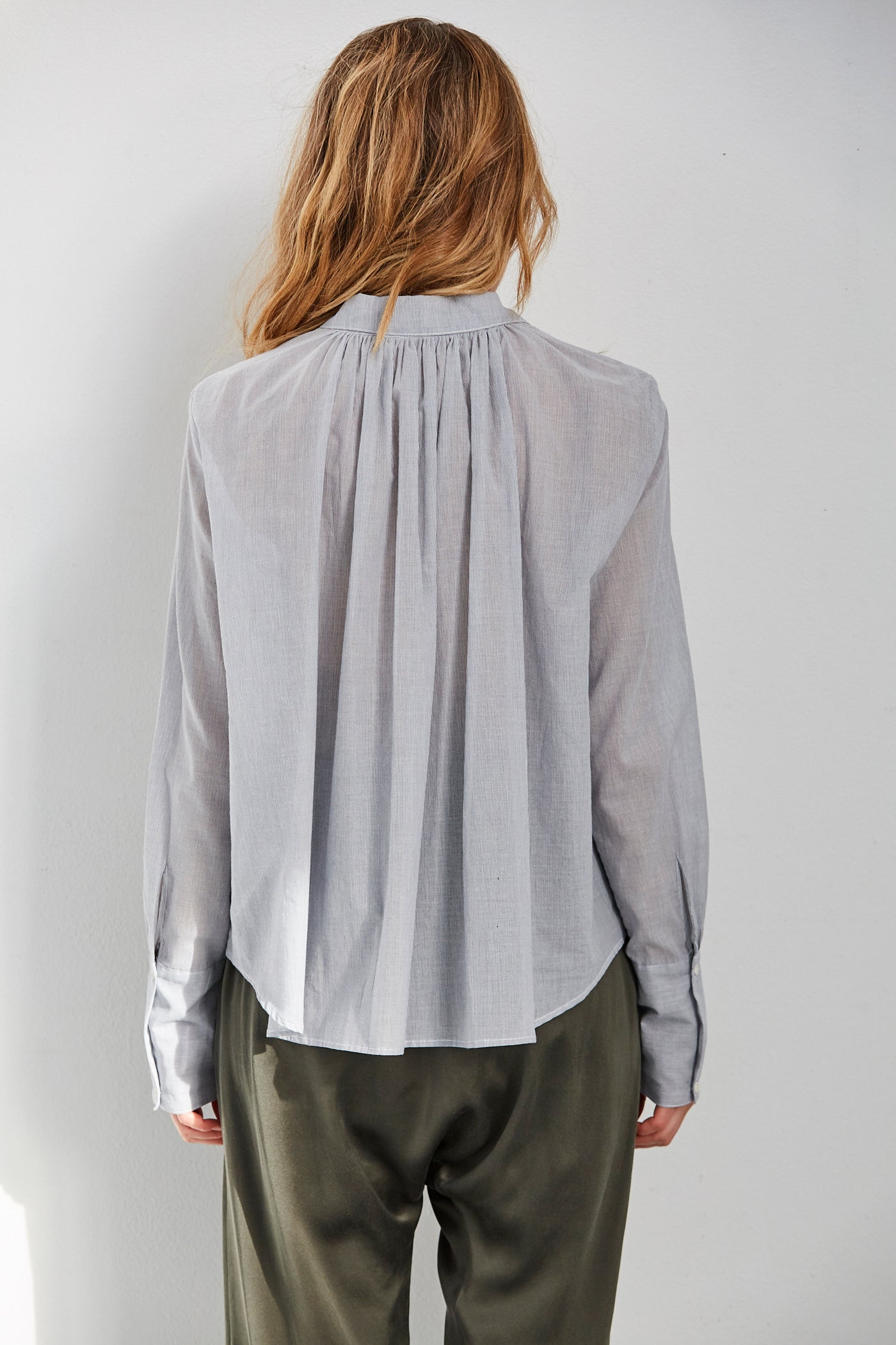 Pleated Back Button Up