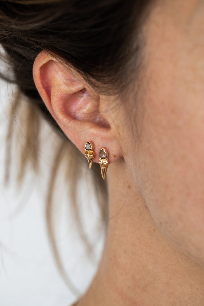 Petite Shark Tooth Rose Cut Diamond Earrings
