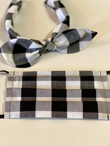 Buffalo check headband & mask set