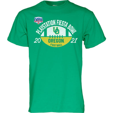 Green Oregon Ducks 2021 PlayStation Fiesta Bowl Short Sleeve T-Shirt