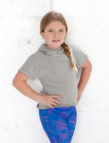 GIRLS 2-6 STRETCH COTTON  CROP HOODY