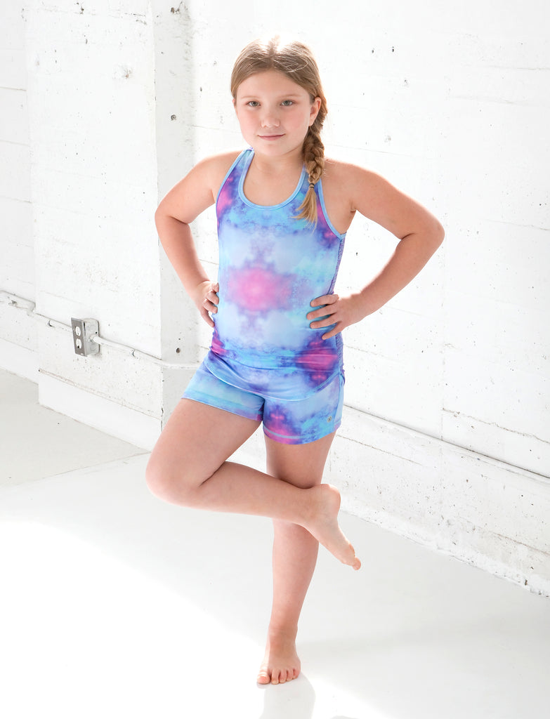 GIRLS 2-6 KALEIDOSCOPE YOGA SHORTS