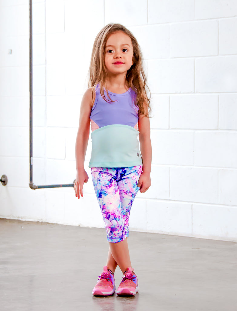 GIRLS 2-6 FLORAL WATERCOLOR CAPRI LEGGING