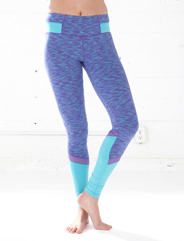 LADIES HEATHERED MESH PANEL LEGGING