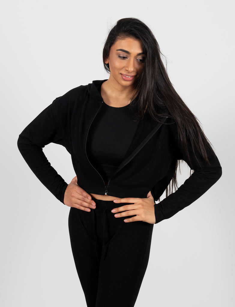 LADIES CROPPED ZIP-UP HOODY
