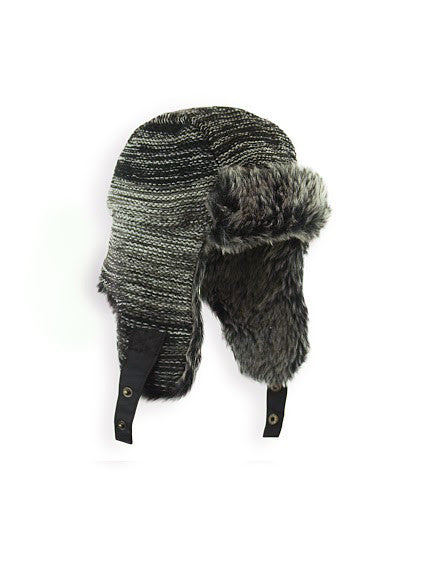 BOY'S 4-16 OMBRE MARLED KNIT TRAPPER HAT W/ FAUX FUR