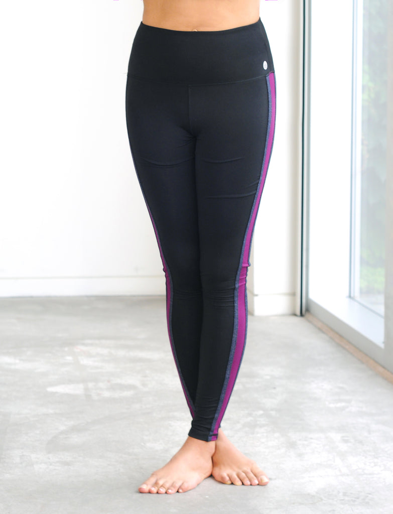 LADIES HIGH RISE LEGGING WITH SIDE STRIPES