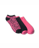 GIRLS 3 PACK ZEBRA ANKLE SOCKS