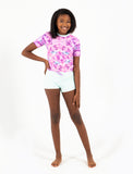 GIRLS S/S RASHGUARD TANKINI SET