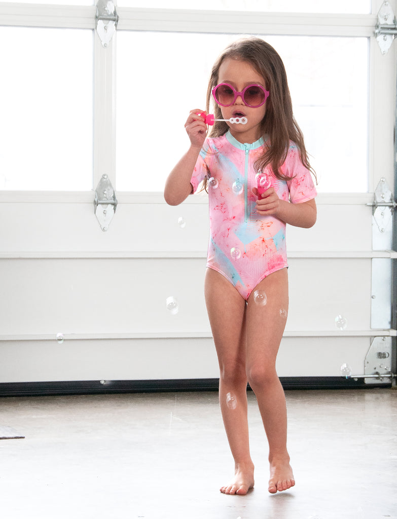 GIRLS 2-6X 1 PIECE RASHGUARD SWIMSUIT