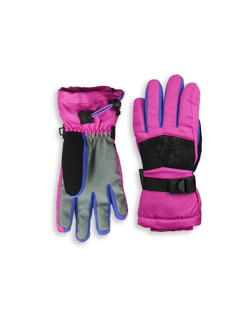GIRL'S 4-16 SKI GLOVE W/ EMBOSSED SNOWFLAKE DETAIL