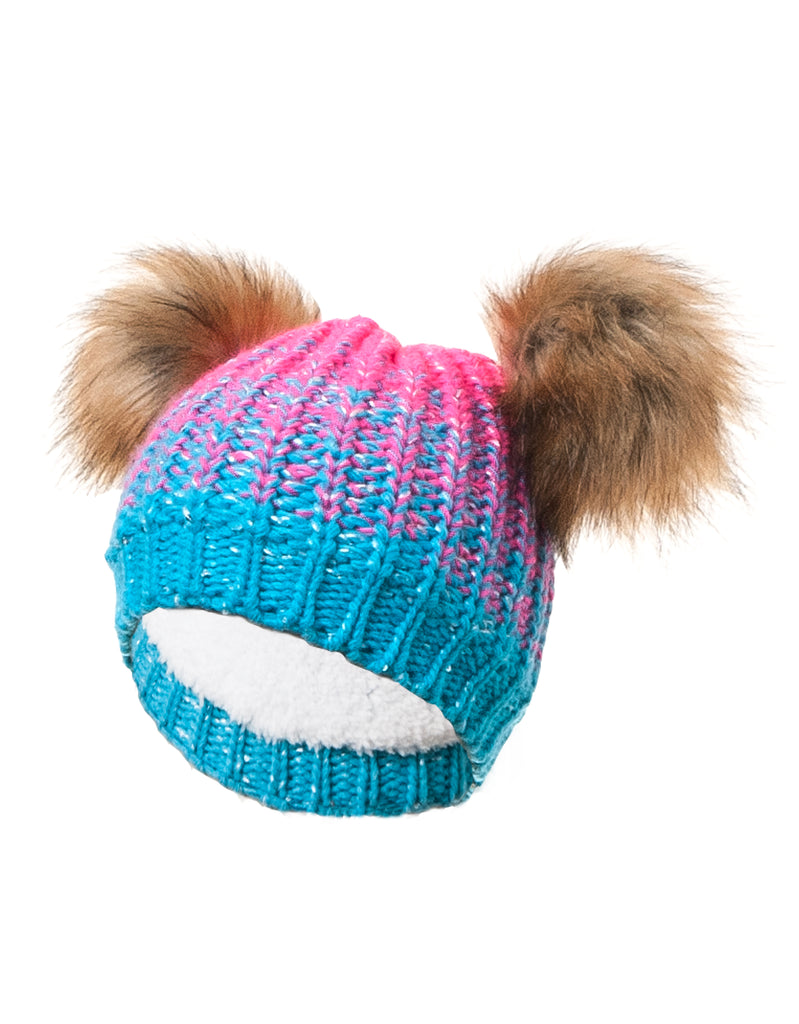 GIRLS 2-6X DOUBLE FAUX FUR POM POM OMBRÉ KNIT TOQUE