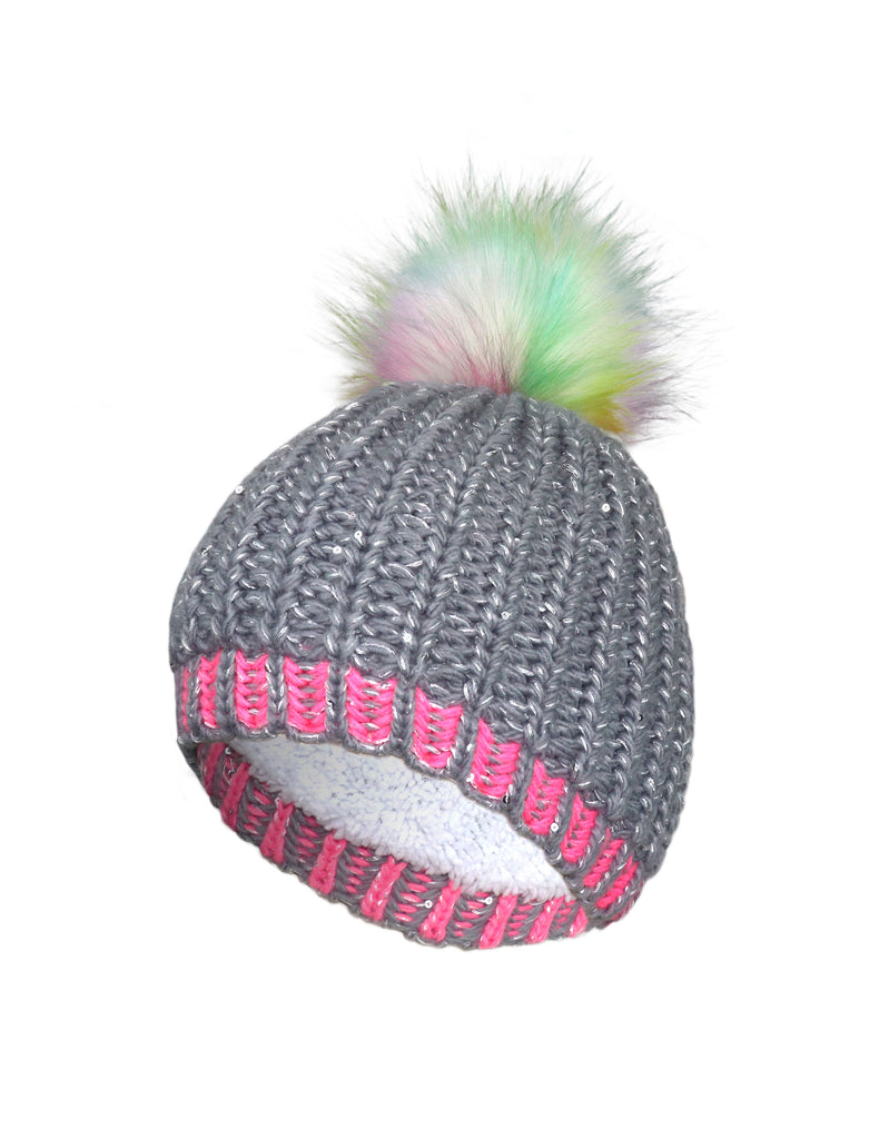 GIRLS 7-16 FAUX FUR POM POM KNIT TOQUE