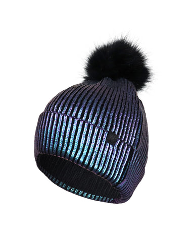 GIRLS 7-16 FAUX FUR POM FOIL PRINT RIB KNIT TOQUE