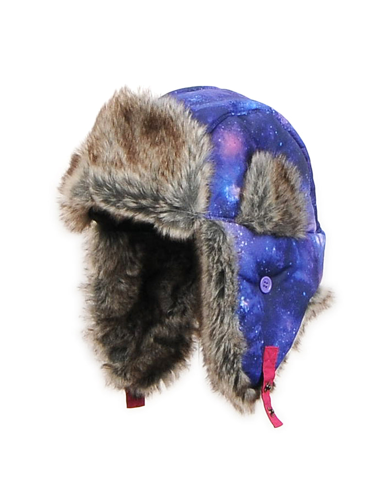 GIRLS 4-16 GALAXY PRINT TRAPPER HAT