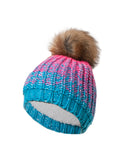 GIRLS 7-16 FAUX FUR POM POM OMBRÉ KNIT TOQUE