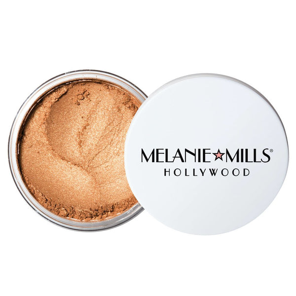 Melanie Mills Hollywood Gleam Radiant Dust Shimmering Loose Powder for Face & Body Deep Gold