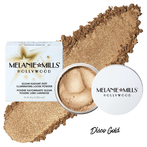 Melanie Mills Hollywood Gleam Radiant Dust Shimmering Loose Powder for Face & Body Disco Gold