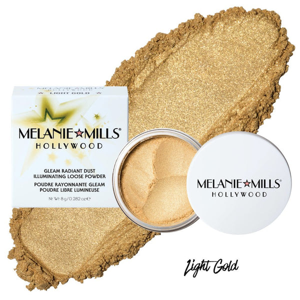 Melanie Mills Hollywood Gleam Radiant Dust Shimmering Loose Powder for Face & Body Light Gold