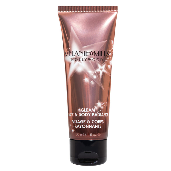 Melanie Mills Hollywood Gleam Face & Body Radiance All In One Makeup, Moisturizer & Glow Peach Deluxe