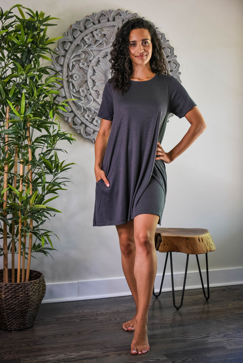 Charcoal Ribbed Mini Dress