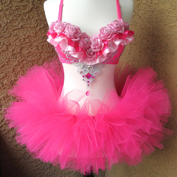 Pink Fuchsia Roses Rave Outfit
