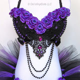 Black Purple Roses Bra