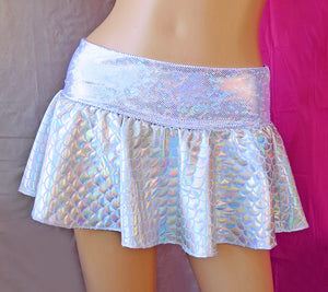 Holographic Mermaid Mini Skirt