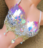 Iridescent Sequins Rave Bra