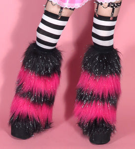 Sparkle Striped Black Hot Pink Fluffies