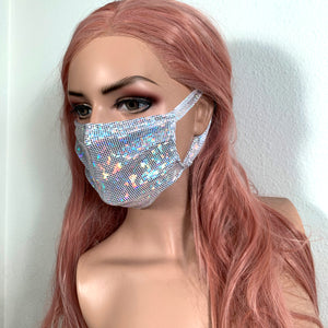 White Holographic Face Mask