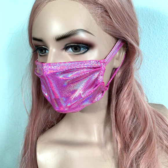 Pink Holographic Face Mask