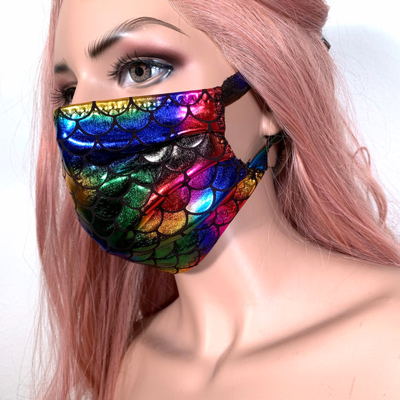 Holographic Multicolor Mermaid Face Mask