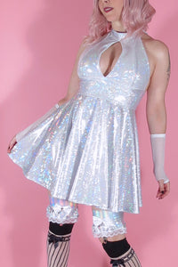 Holographic Shattered Glass Halter Dress