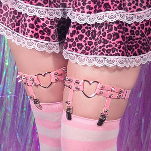 Spiked Heart Ring Leg Garters - Pink