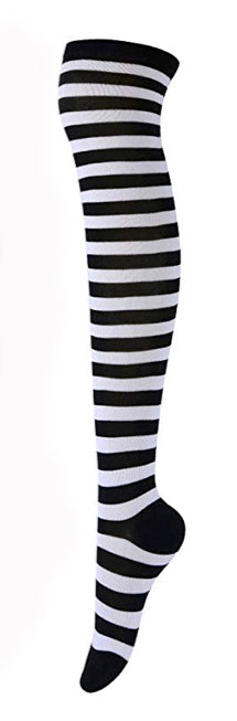 Black White Striped Stockings