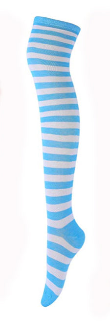 Blue White Striped Stockings