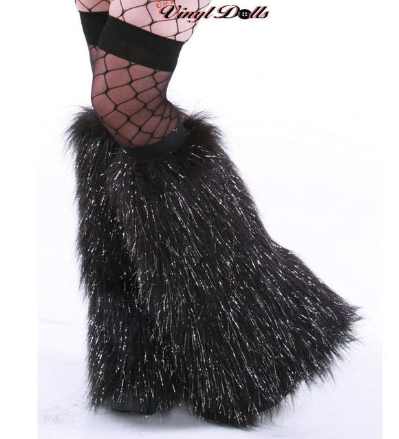 Sparkle Black Fluffies Leg Warmers