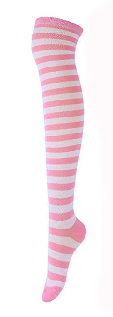 Pink White Striped Stockings