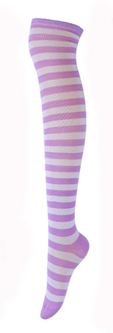 Purple White Striped Stockings