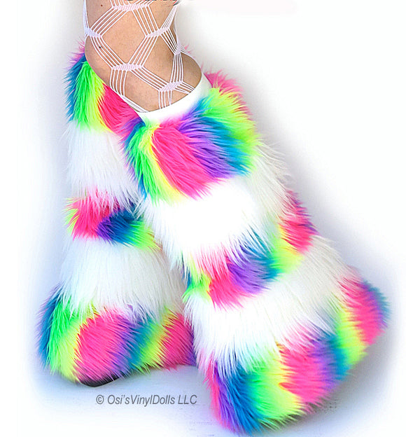 Striped Rainbow White Fluffies